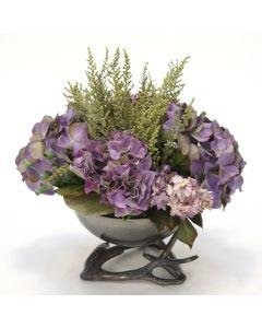 Purple Hydrangea in Black Nickel Bowl with Horns