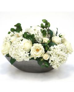 White Hydrangeas with Roses in Cosmic Bowl