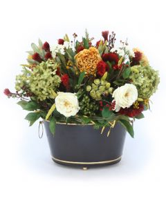 Rose and Hydrangea With Mixed Flowers in Tole Planter