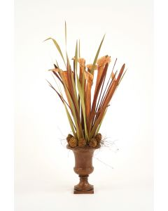 Pitcher Plants with Grasses and Cones in Maple Finish Urn