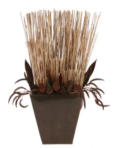 Brown Flax/Flowers/Palm Paddlecone/Green Reed in Brown Pillow Vase