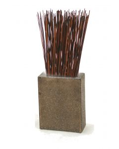 Mahogany Reeds in Small Crystal Bronze Earthenware Rectangle Vase