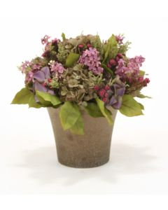 Blue Purple Lilacs, Green Purple Hydrangeas and Greenery in Crystal Bronze Orchid Pot
