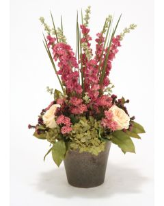 Purple and Mauve Hydrangeas, Delphiniums, Ranunculus in Crystal Bronze Orchid Pot