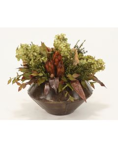 Fall-Toned Hydrangeas, Foliage, Natural Flora in Espresso Bisque Rivet Planter