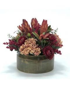 Hydrangeas with Rust Ranunculas and Repens in Metal Bowl