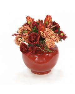 Hydrangeas with Rust Ranunculus and Repens in Red Vase