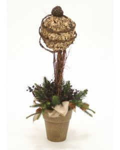 Lichen Ball Topiary in Tuscan Brown French Pot