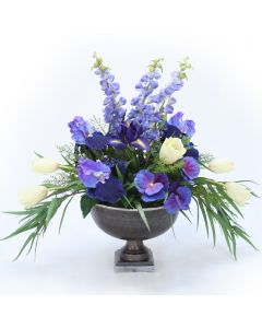 Tulips, Pansies and Iris in Hampton Urn