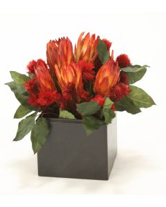Natural Protea with Red Repens in Wood Planter