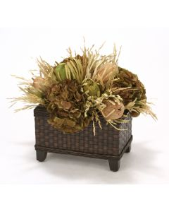 Natural Banksia Proteas with Grass and Hydrangeas in Wicker Basket
