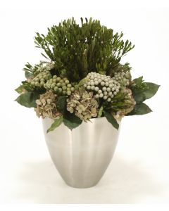 Green Hydrangeas, Brunia, Patlys, Salal Leaves in Tapered Metal Vase