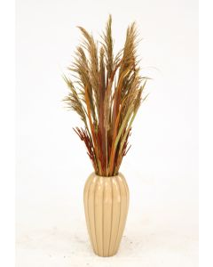 Dried Grasses in Tan Ribbed Vase