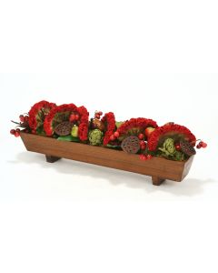 Dark Red Celosia, Red Cherry Spray, Pear Spray with Lotus Pods in Rectangular Wood Planter