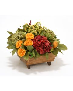Hydrangeas and Ranunculus Mix in Square Stained Footed Wood Box