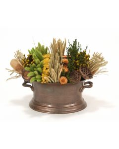 Pave Rows of Natural Grasses and Pods in Oval Vintage Copper with Handles