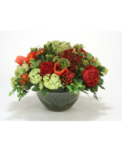 Red, Green, Orange Mixed Garden Flowers in Round Glass Bowl