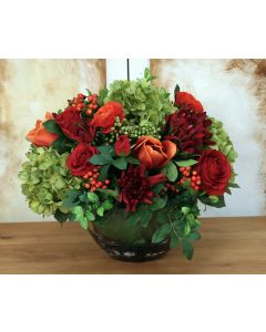 Red, Green, Orange Garden Flowers in Round Glass Bowl