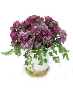 Amethyst Ranunculus  and Lavender Hydrangea in White Ceramic Pot with Gold Saucer