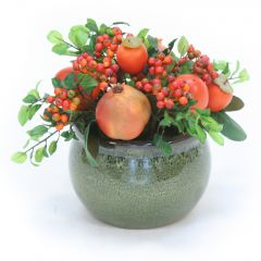 Pomegranate and Berries in Green Planter