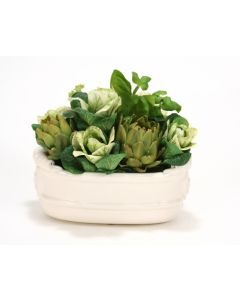 Kale, Artichokes and Basil in Oval White Stoneware