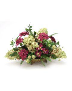 Hydrangea with Zinnia with Greenery