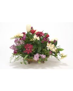 Lilac, Freesia with Greenery in Oval Metal Tray
