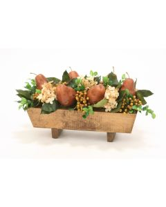 Hydrangeas, Berries and Pears in Stained Rectangular Wood Box