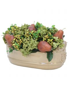Green Hydrangea and Pears in Tan Planter