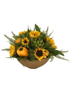 Sunflowers with Lemons, Peppers and Artichokes in Mocha Glazed Bowl