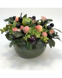 Large Mixed Fruit in Green Stoneware