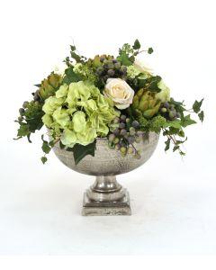 Hydrangea and Artichoke Mix in Silver Hampton Urn