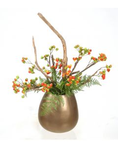 Bittersweet and Fern in Bronze Spousa Vase