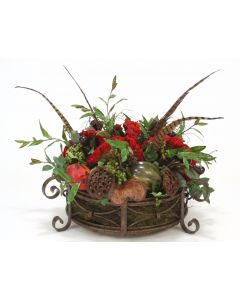 Celosia with Mixed Berries, Fruit and Pods in Round Iron Planter
