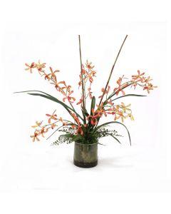 Vanda Orchid Garden in Glass Round Bowl