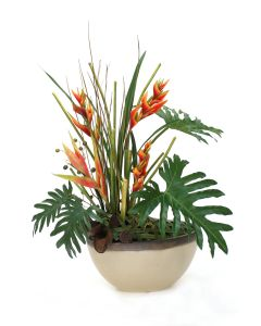 Red Heliconia and Red Anthurium With Gold Orchids in Sand and Bronze Oval Planter
