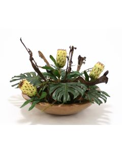 Tropical Foliage with Proteas, Natrag and Pods in Mocha Glazed Bowl