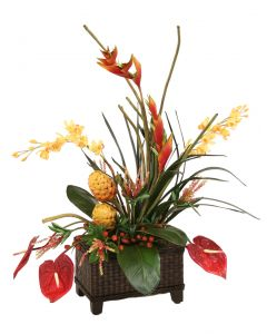 Artificial Gold Protea, Orchids, Red Heliconia and Antherium with Bird of Paradise Leaves in A Rectangular Splint Woven Planter with Wood Legs