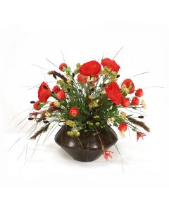 Poppies with Ranunculus and Mixed Grasses in Round Metal Planter