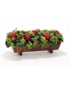 Hydrangeas, Berries and Apples Nestled in Stained Wood Planter