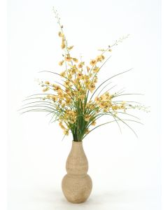 Gold Oncidium Orchids, Grass in Aged Almond Rio Vase