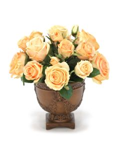 Peach Roses in Garland Urn