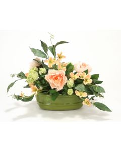 Snowballs, Peonies, Dogwood, Foliage in Sage Green Lion's Head Planter