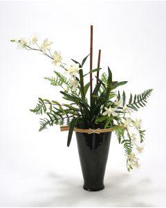 Black-N-White Orchid Garden in Black Fuji Vase