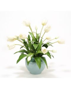 Ivory Tulips in Blue-Cream Crackle Earthenware Vase