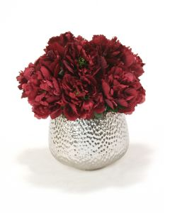 Plum Peonies in Silver Textured Planter