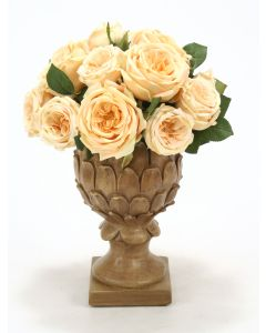 Champagne Yellow Roses in Copper Wash Pineapple Urn