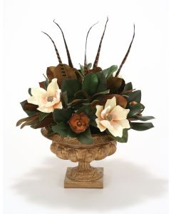 Magnolia and Feathers in Honey Walnut Urn