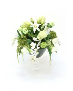 Shades of Green and White in Crysta Pedestal Vase