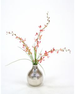 Orchids, Grass in Silver Vase